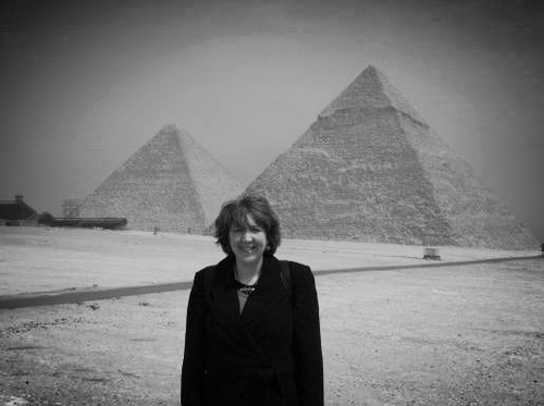 April Deconick visiting the Giza Pyramids, Cairo, Egypt 2005