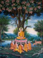 "Painting of the first sermon depicted at Wat Chedi Liem in Thailand."" width="