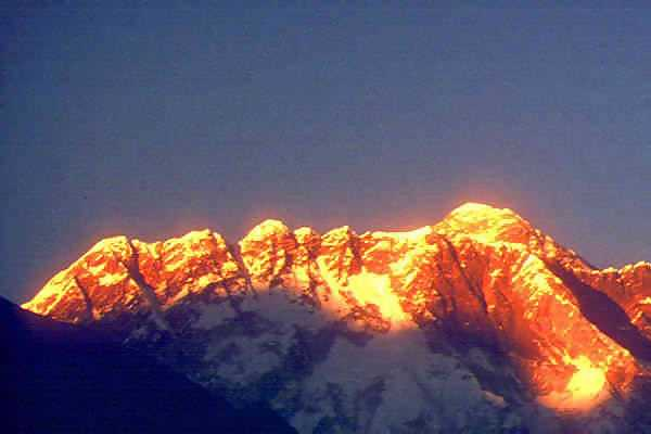 Golden sunset on Mount Everest
