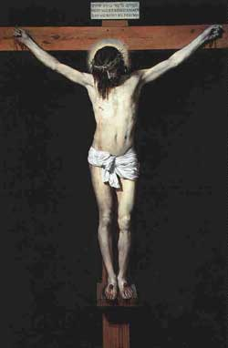 Jesus Christ, hanging on the cross, awaits physical death only to return after spiritual resurrection