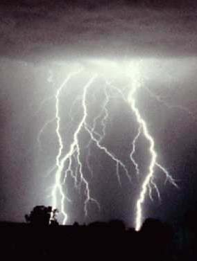 Bolts of lightning striking earth