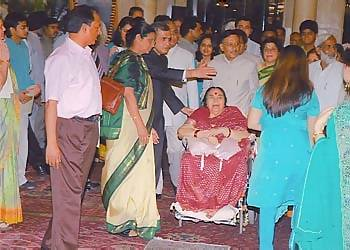 Shri Mataji, aged 82 years-old, on a wheelchair to witness Her husband's outstanding achievement