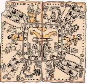 Madrid Codex: (75-76) The 4 quarters /8 partitions of  the cosmos about the World Tree.